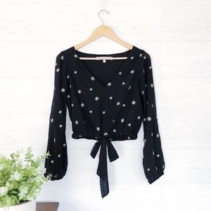 Lover's + Friends Black Crop Star Embroidered Top